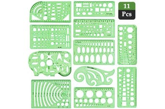 11Pcs Geometric Drawings Building Template Ruler Technical Drawing Supplies Geometric Stencils Measuring Templates Building Formwork Drawing Draught for Design, Architecture, Engineering, Quilting