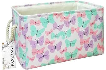 (Butterfly) - FANKANG Rectangular Fabric Storage Bin Box Laundry Basket with Dinosaur Prints for Nursery Storage, Storage Hamper, Book Bag, Gift Baskets (Butterfly)