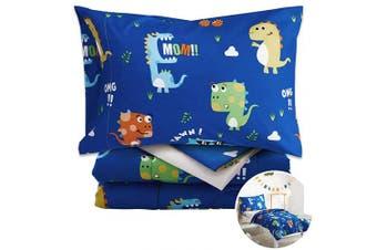 (4 Piece Toddler Bedding Set, Blue Dinosaurs) - Uozzi Bedding Unicorn 4 Piece Colourful Dinosaurs Toddler Bedding Set with Orange Yellow Green Blue Monster Boys Bed Comforter sheetSet