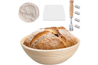 23cm Bread Banneton Proofing Basket Set, Bread Proofing Basket + Bread Lame + Dough Scraper + Linen Liner Cloth for Professional & Home Bakers by BUYGOO