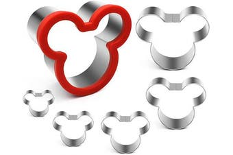 ANPOPO Mickey Mouse Cookie Cutters, 6 Piece Mickey Face Cookie Cutter Shapes for Kid, Mickey Head Sandwich Cutter Set, 4cm , 5cm , 6cm , 7cm , 8cm , 10cm