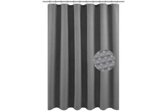 (71Wx75L(Longer), Gray) - Barossa Design Long Fabric Waffle Weave Shower Curtain 190cm Height, Hotel Collection, 230 GSM Heavy Duty, Water Repellent, Machine Washable, Grey Pique Pattern, 71x 75