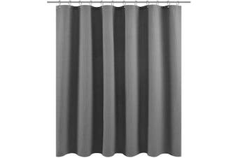 (71Wx60L, Gray) - Waffle Weave Fabric Shower Curtain 150cm Long, Hotel Collection, 230 GSM Heavy Duty, Water Repellent, Machine Washable, Grey Pique Pattern Decorative Bathroom Curtain, 71x 60