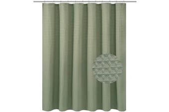 (71Wx60L, Sage) - Waffle Weave Fabric Shower Curtain 150cm Height, Hotel Collection, 230 GSM Heavyweight, Water Repellent, Machine Washable, Sage Green Pique Pattern Decorative Bathroom Curtain, 71x 60