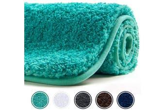 (60cm  x 41cm , Green) - Poymecy Bathroom Rug Non Slip Soft Water Absorbent Thick Large Shaggy Floor Mats,Machine Washable,Bath Mat (Green,60cm x 41cm )