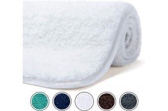 (150cm  x 50cm , White) - Poymecy Bathroom Rug Non-Slip Soft Water Absorbent Thick Large Shaggy Floor Mats,Machine Washable,Bath Mat (White,150cm x 50cm )