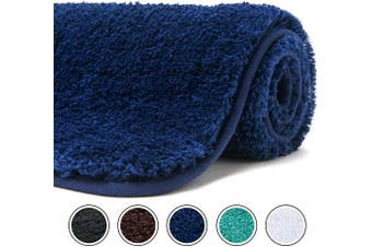 (80cm  x 50cm , Navy) - Poymecy Bathroom Rug Non-Slip Soft Water Absorbent Thick Large Shaggy Floor Mats,Machine Washable,Bath Mat,Bathroom Thick Plush Rugs for Shower (Navy,80cm x 50cm )