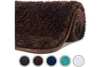 (80cm  x 50cm , Brown) - Poymecy Bathroom Rug Non-Slip Soft Water Absorbent Thick Large Shaggy Floor Mats,Machine Washable,Bath Mat,Bathroom Thick Plush Rugs for Shower (Brown,80cm x 50cm )