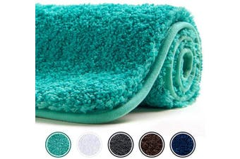 (80cm  x 50cm , Green) - Poymecy Bathroom Rug Non-Slip Soft Water Absorbent Thick Large Shaggy Floor Mats,Machine Washable,Bath Mat,Bathroom Thick Plush Rugs for Shower (Green,80cm x 50cm )