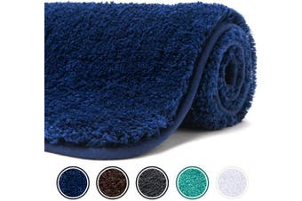 (150cm  x 50cm , Navy) - Poymecy Bathroom Rug Non Slip Soft Water Absorbent Thick Large Shaggy Floor Mats,Machine Washable,Bath Mat (Navy,150cm x 50cm )