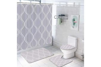 4 Piece Grey Geometric Patterned Shower Curtain Set with Non-Slip Rug, Toilet Lid Cover, Bath Mat and 12 Hooks, Curve Striped Waterproof Shower Curtain Set for Bathroom