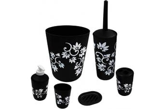 (Black) - Blue Donuts Bathroom Accessories Set Complete, Toilet Brush and Holder, Trash Can, Toothbrush Holder, Black, 6 Pieces