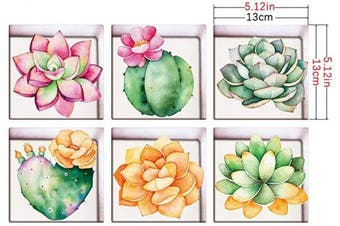 Vosarea 3D Bathtub Stickers, Non-slip Waterproof Removable Bathtub Decals, Cactus Wall Stickers for Bathroom Toilet ,6Pcs