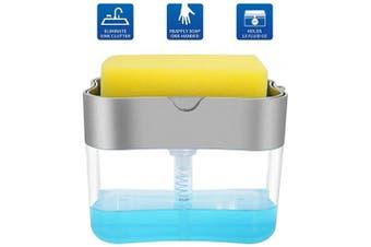 (Silver) - Aeakey Soap Pump Dispenser and Sponge Holder for Kitchen Sink Dish Washing Soap Dispenser 380mls (Silver)