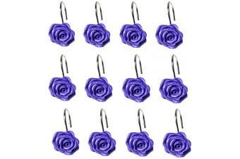 (Purple) - Actpe 12pcs Shower Curtain Hooks, Home Decorative Rustproof Shower Curtain Hooks Resin Rose Flower Shower Hooks Rings for Bathroom Shower Rods Curtains, Purple Rose