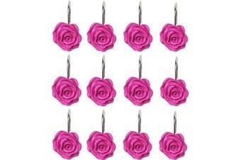 (Rose Red) - Actpe 12pcs Shower Curtain Hooks, Home Decorative Rustproof Shower Curtain Hooks Resin Rose Flower Shower Hooks Rings for Bathroom Shower Rods Curtains (Rose Red)