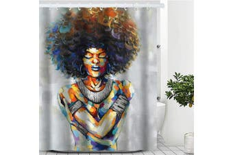 (180cm  x 180cm , Afro Girl) - Artinme African American Afro Woman Black Art Painting Print Beach Shower Curtain Waterproof Polyester Fabric Shower Curtain Set with Hooks Bathroom Decor 180cm x 180cm