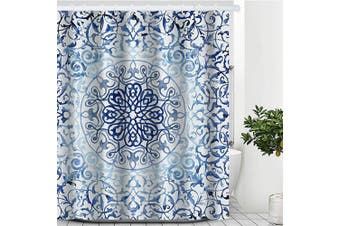 (180cm  x 180cm , Blue Mandala) - Artinme Blue Boho Mandala Print Beach Shower Curtain Waterproof Polyester Fabric Shower Curtain Set with Hooks Bathroom Decor 180cm x 180cm
