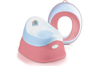(Set - Potty+Seat Ring Rose) - Lama Sam & Friends - Smart Plastic Potty for Baby and & Toddler + Baby Kids Toilet Training Seat - Ring for Boys or Girls Secure Non-Slip Surface