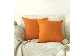 (41cm  x 41cm , Pumpkin Orange) - 4TH Emotion Outdoor Waterproof Throw Pillow Covers Garden Cushion Case for Patio Couch Sofa Polyester Cotton Home Decoration Pack of 2, 41cm X 41cm Pumpkin Orange
