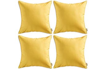 (46cm  x 46cm , Yellow) - MIULEE Pack of 4 Decorative Outdoor Waterproof Pillow Cover Square Garden Cushion Case PU Coating Throw Pillow Cover Shell for Tent Park Couch 46cm x 46cm Yellow