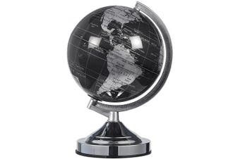 Juvale World Globe - 20cm Black and Silver Political Globe - Spinning and Rotating Desktop Globe with Stand - Great Educational Gift for Kids, Adults, Teachers