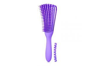 (1 pc, Purple) - Detangling Brush for Afro America/African Hair Textured 3a to 4c Kinky Wavy/Curly/Coily/Wet/Dry/Oil/Thick/Long Hair, Knots Detangler Scalp Massage Comb Hair Detangler for Women (1 pc, Purple)