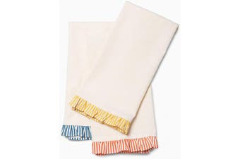 (3, Frill) - Folkulture Cotton Kitchen Towels or Dish Towels, 50cm X 70cm Modern Tea Towels or Dish Cloths with Corner Hanging Loop, Set of 3 Frill Dishcloth or Dish Rags for Farmhouse Kitchen Decor
