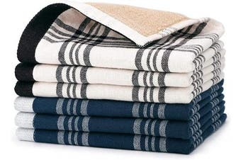 (Blue White & White Black) - Beasea Dish Towels, 100% Cotton 6pcs Kitchen Towel Plaid Kitchen Dish Cloths 33cm x 33cm Soft Tea Towel Highly Absorbent Cleaning Cloths for Household Cooking Cleaning - Mixed Colour