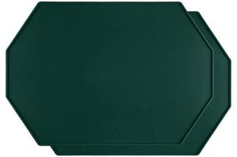 (Forest Green-2pcs) - Lazy K Silicone Placemats - Octagon with Raised Edges - Non Slip Waterproof - Simple Modern Design - Heat-Resistant Kitchen Table Mats - Forest Green (Set of 2)
