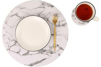 (Set of 8, C Marble) - Sot of 8 Marble Round Placemats and Coasters, Faux Leather Waterproof Table Mats, Easy to Wipe Off for Kitchen Dining Round Table