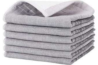 (Grey) - Beasea Cleaning Cloths Reusable, 6pcs Cotton Kitchen Towels 33cm x 33cm Dish Cleaning Towels Soft Tea Towel Highly Absorbent Dish Cloths for Household with Hanging Loop - Grey