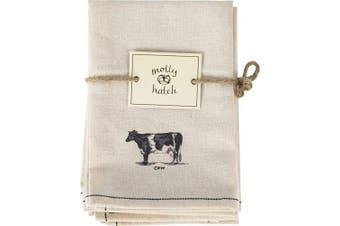 (Set of 6 Napkins) - Palais Essentials Molly Hatch Black and White Farmhouse Decor Cotton Linen (Set of 6 Napkins)