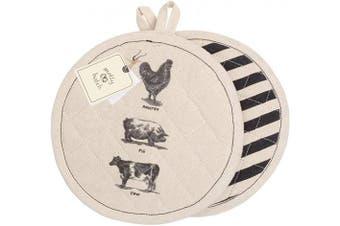 (Set of 2 Pot Holders) - Palais Essentials Molly Hatch Black and White Farmhouse Decor Cotton Linen (Set of 2 Pot Holders)