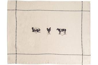 (Set of 4 Placemats Farmyard) - Palais Essentials Molly Hatch Black and White Farmhouse Decor Cotton Linen (Set of 4 Placemats Farmyard)