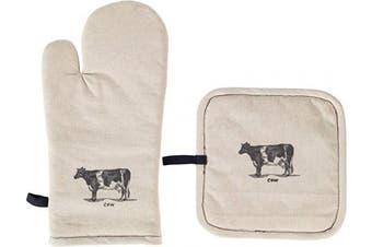 (Pot Holder Mitt Set, Cow) - Palais Essentials Molly Hatch Black and White Farmhouse Decor Cotton Linen (Pot Holder Mitt Set, Cow)