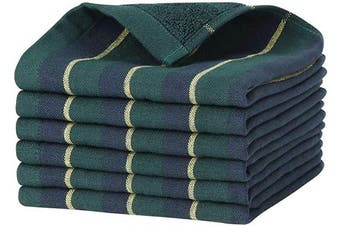 (Green) - Beasea Cotton Dish Cloths, 6pcs Kitchen Towels 33cm x 33cm Dish Towels Cleaning Cloths Soft Cleaning Towel Highly Absorbent Dish Cloths for Household with Hanging Loop - Green