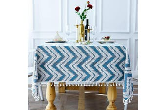 (Rectangle/Oblong, 140cm  x 300cm , Blue) - smiry Embroidery Tassel Tablecloth - Cotton Linen Dust-Proof Table Cover for Kitchen Dining Room Party Home Tabletop Decoration