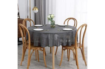 (Round 180cm , Flaxy Charcoal) - maxmill Flaxy Faux Linen Tablecloth with 2-Tone Slubby Texture Wrinkle Resistant Anti-Shrink Soft Table Cloth for Kitchen Dining Restaurant Tabletop for Event Holiday Dinner Round 180cm Charcoal