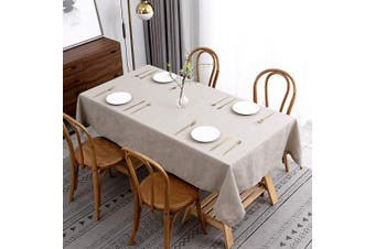 (Rectangle 150cm  X 360cm , Lux Natural) - maxmill Lux Faux Linen Table Cloth with Slubby Texture Wrinkle Resistant Anti-Shrink Soft Tablecloth for Kitchen Dining Tabletop for Buffet Banquet Parties Rectangle 150cm x 360cm Natural