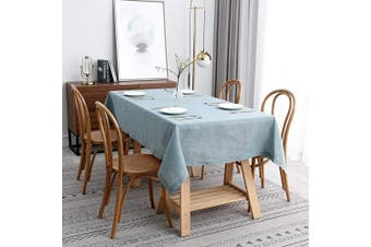 (Rectangle 150cm  X 300cm , Lux Slate Blue) - maxmill Lux Faux Linen Tablecloth with Slubby Yarn Textured Weaves Wrinkle Resistant Anti-Shrink Soft Table Cloth for Kitchen Dining Restaurant Tabletop Rectangle 150cm x 300cm Slate Blue