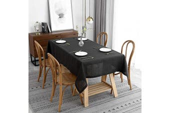 (Rectangle 150cm  X 300cm , Lux Charcoal) - maxmill Lux Faux Linen Tablecloth with Slubby Yarn Textured Weaves Wrinkle Resistant Anti-Shrink Soft Table Cloth for Kitchen Dining Restaurant Tabletop Rectangle 150cm x 300cm Charcoal