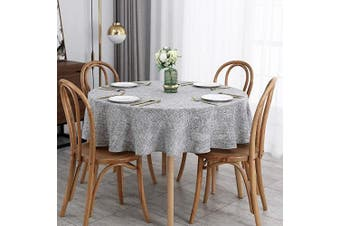 (Round 180cm , Flaxy Light Grey) - maxmill Flaxy Faux Linen Tablecloth with 2-Tone Slubby Texture Wrinkle Resistant Anti-Shrink Soft Table Cloth for Kitchen Dining Restaurant Tabletop for Event Dinner Round 180cm Light Grey