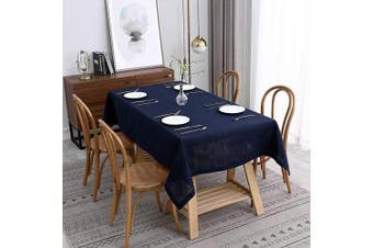(Rectangle 150cm  X 300cm , Lux Navy) - maxmill Lux Faux Linen Tablecloth with Slubby Yarn Textured Weaves Wrinkle Resistant Anti-Shrink Soft Table Cloth for Kitchen Dining Restaurant Tabletop Rectangle 150cm x 300cm Navy