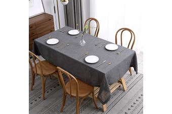 (Rectangle 150cm  X 300cm , Flaxy Charcoal) - maxmill Flaxy Faux Linen Tablecloth with 2-Tone Slubby Yarn Texture Wrinkle Resistant Anti-Shrink Soft Table Cloth for Kitchen Dining Restaurant Tabletop Rectangle 150cm x 300cm Charcoal