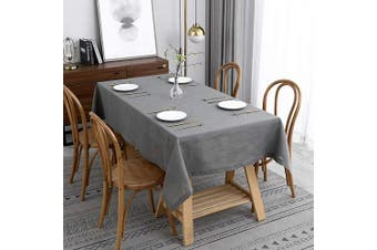 (Rectangle 130cm  X 180cm , Lux Neutral Gray) - maxmill Lux Faux Linen Table Cloth with Slubby Texture Wrinkle Resistant Anti-Shrink Soft Tablecloth for Kitchen Dining Tabletop for Banquet Parties Event Dinner Rectangle 130cm x 180cm Neutral Grey