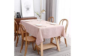 (Rectangle 150cm  X 260cm , Lux Blush) - maxmill Lux Faux Linen Table Cloth with Slubby Yarn Textured Weaves Wrinkle Free Anti-Shrink Soft Tablecloth Decorative Table Cover for Outdoor and Indoor Use Rectangle 150cm x 260cm Blush