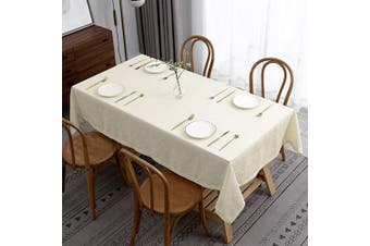 (Rectangle 150cm  X 300cm , Lux Ivory) - maxmill Lux Faux Linen Tablecloth with Slubby Yarn Textured Weaves Wrinkle Resistant Anti-Shrink Soft Table Cloth for Kitchen Dining Restaurant Tabletop Rectangle 150cm x 300cm Ivory