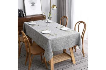 (Rectangle 150cm  X 210cm , Flaxy Light Grey) - maxmill Flaxy Faux Linen Tablecloth with 2-Tone Slubby Texture Wrinkle Free Anti-Shrink Soft Table Cloth for Kitchen Dining Tabletop Rectangle 150cm x 210cm Light Grey