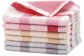 (Pink & Grey & Coffee) - Beasea Cleaning Towels for Home, 6pcs 100% Cotton Kitchen Towels Plaid Kitchen Dish Towels 33cm x 33cm Soft Comfort Tea Towel Highly Absorbent Cleaning Cloths for Household Cooking Cleaning
